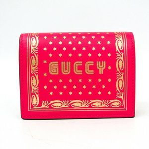 Gucci GUCCY Logo 524965 Leather Card Case Pink